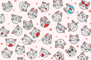 BIG set of cartoon cats and smiles