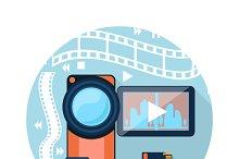 Video camera with cinema tape