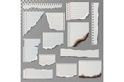 Pieces of torn white lined notebook paper square line rag white and burned page vector illustration.