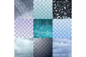 Different rain drops and rainy lines background vector water raindrop illustration