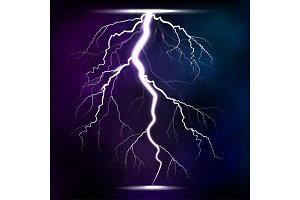 Lightning storm strike realistic 3d light lighting effects vector illustration.