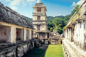 View of the Palace, Palenque. Mexico