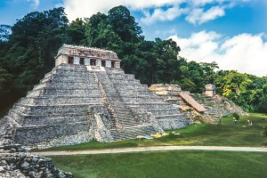Temple of Inscriptions at mayan ruin