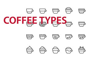 20 Coffee types UI icons