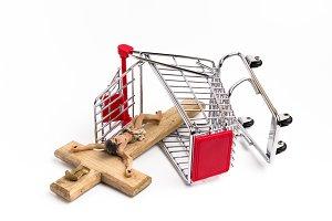 Shopping cart with crucifix