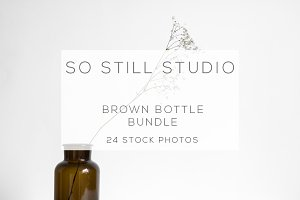 Minimal brown bottle with greenery