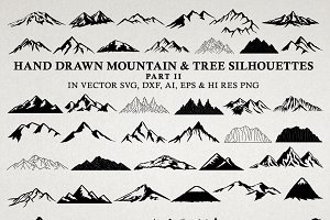 Hand Drawn Mountains and Trees 2