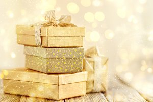 Beautiful golden presents for Christ