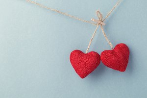Decorative wool hearts on string