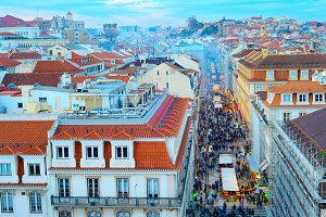 Old Town of Lisbon at twilight