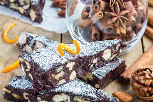 Panforte traditional italian christmas dessert with nuts and candied fruits, square