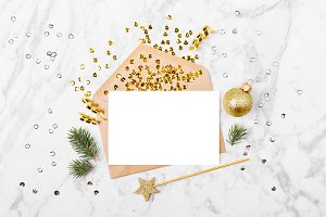 Blank card with golden streamers