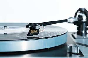 High quality vinyl record deck and tone arm