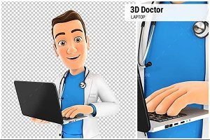 3D Doctor Holding Laptop