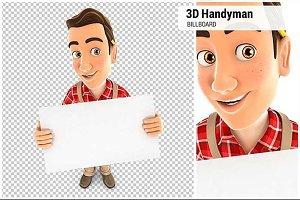 3D Handyman Holding a Billboard