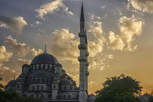 Istanbul mosque at sunset