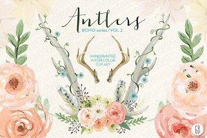 Watercolor floral deer antlers