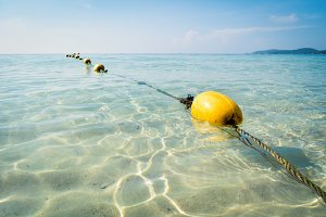 Yellow buoys in the beautiful sea