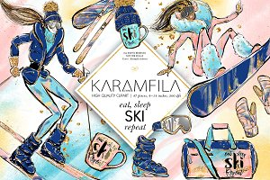 Skiing & Snowboarding Clipart