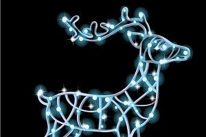 Figure of deer from glowing garlands
