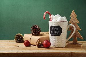Christmas cup with marshmallow
