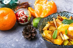 Christmas exotic fruit salad