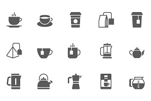 Coffee and Tea Vector Icons Set.