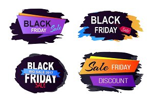 Black Friday Sale 2017 Set on Vector Illustration