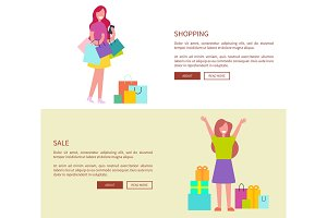 Women with Shopping Bags Vector Illustration