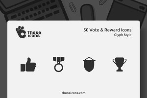 50 Vote & Reward Glyph Icon
