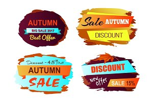 Autumn Discount Best Offer Vector Illustration