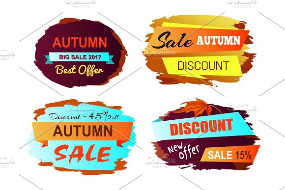 Autumn Discount Best Offer Vector Illustration