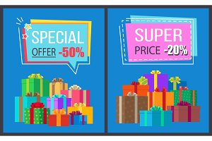 Special Offer Super Price Promo Labels Gift Boxes
