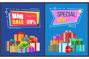 Big Sale Special Offer Posters Vector Illustration