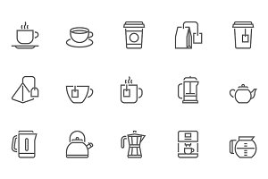 Coffee and Tea Vector Line Icons Set