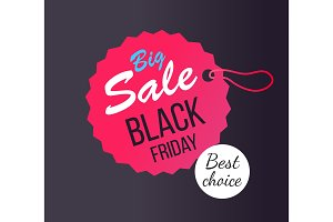 Big Sale Black Friday Round Hanging Tag Stamp Icon