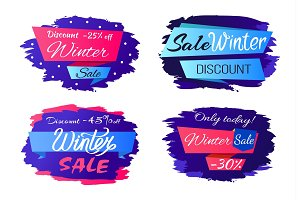 Sale Winter Discounts Special Offer Promo Labels