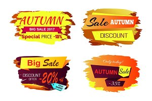 Autumn Big Sale Offer Vector Illustration