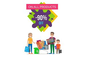 On All Products 90% Off Banner Vector Illustration