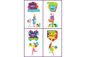 -25% Off Best Discount Banners Vector Illustration