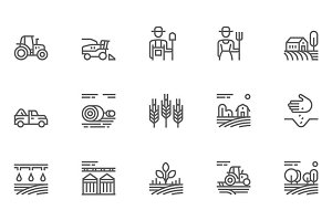 Agriculture and Farming Line Icons