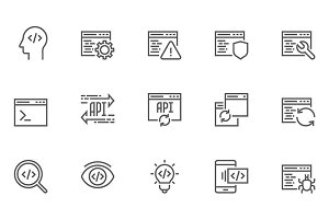 Software and Programming Line Icons