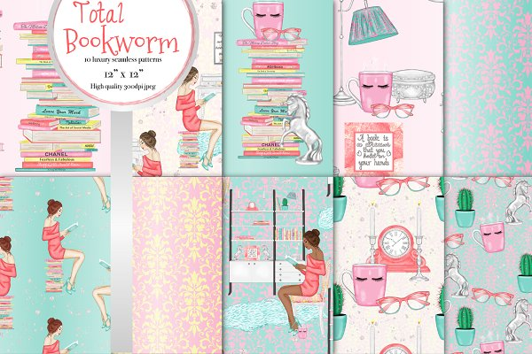 Total bookworm seamless patterns