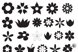 Flowers Silhouettes Vector Shapes