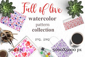 Full of love watercolor pattern set