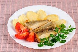 Fried fish and potato