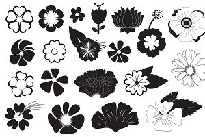 Flowers Silhouettes Vectors