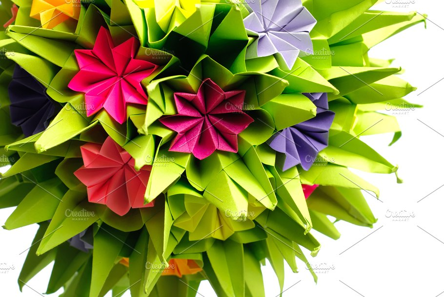 Origami kusudama flower nature photos creative market origami kusudama flower nature mightylinksfo