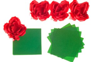 Origami red roses