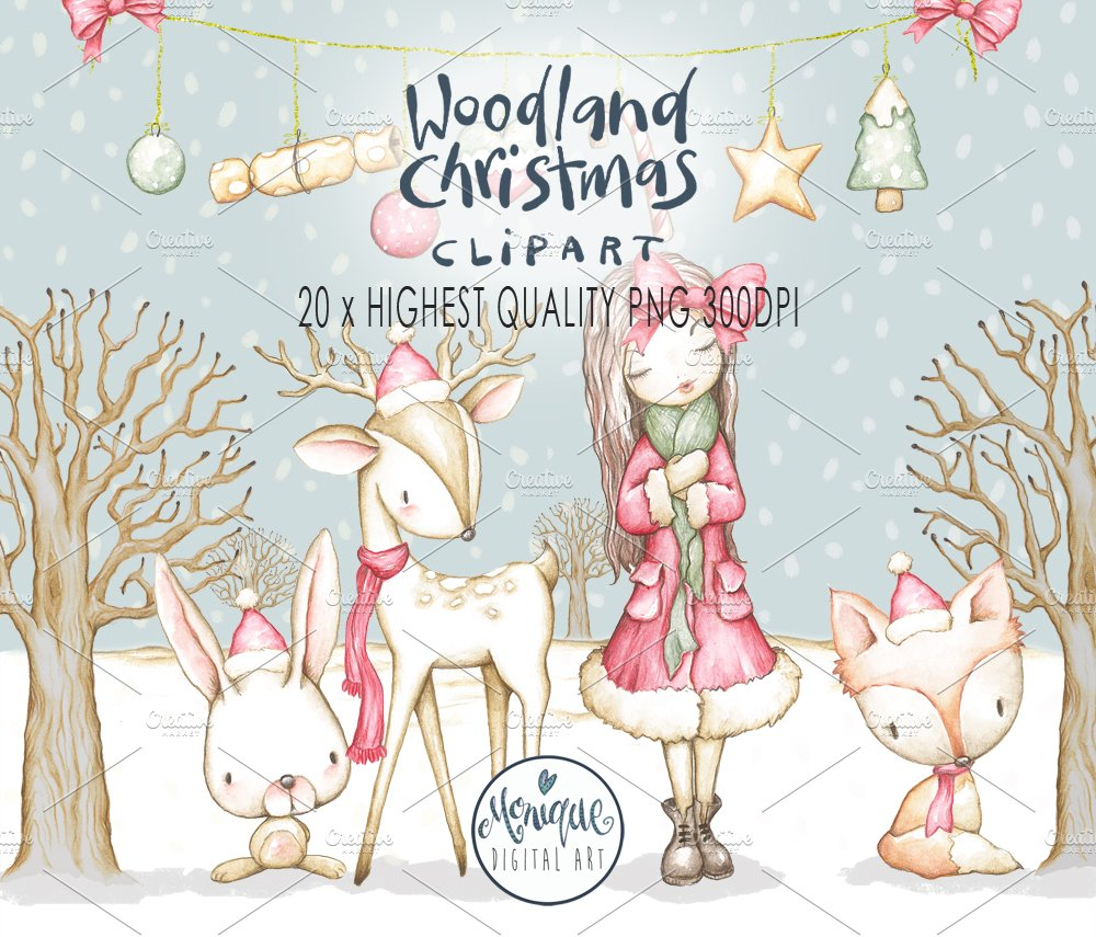 woodland christmas clip art illustrations creative market - Woodland Christmas